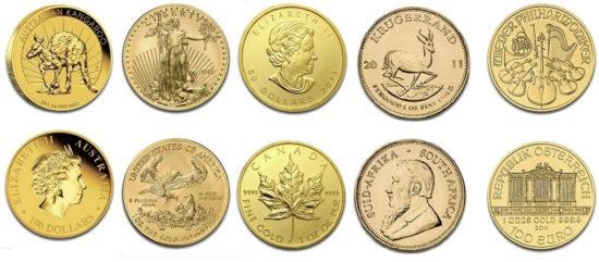 Złote monety, od lewej: australijski Kangur, amerykański Orzeł, Krugerrand z RPA, Filharmonicy ze Szwajcarii,