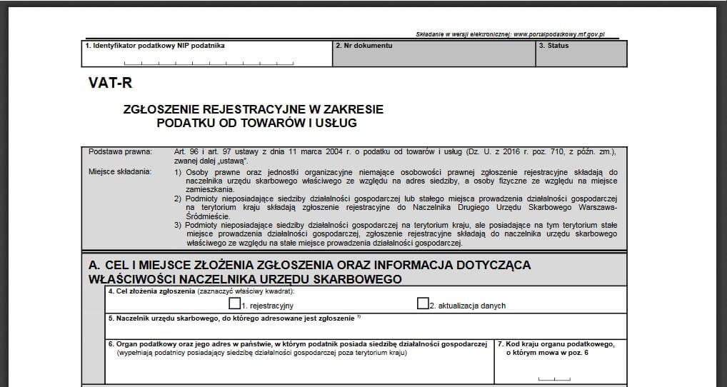 Rejestracja do VAT-R - wzór wniosku