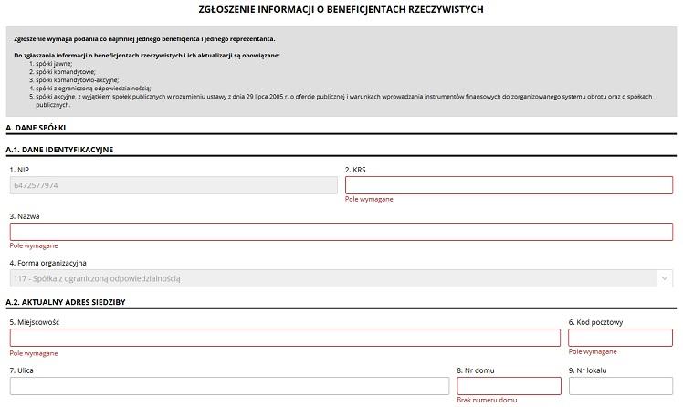 zgloszenie beneficjenta do crbr formularz
