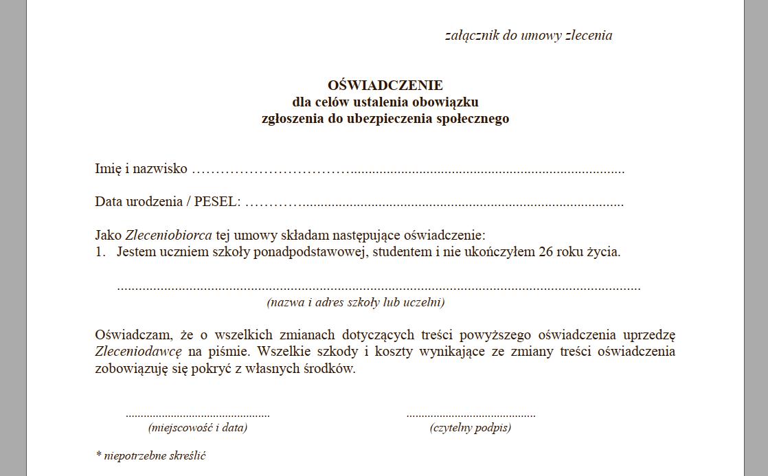 oświadczenie umowa zlecenie dla studenta